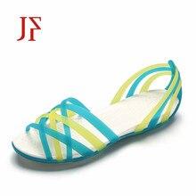 Summer Sandals for Women plastic sandals JF rain colorful woven Roman flat sandalias plasticas Chaussure Femme
