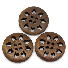 25mm 4-Holes Round Wooden Buttons brown snow flower DIY Natural Wood Button Clothing Accessories 100 pcs/lot