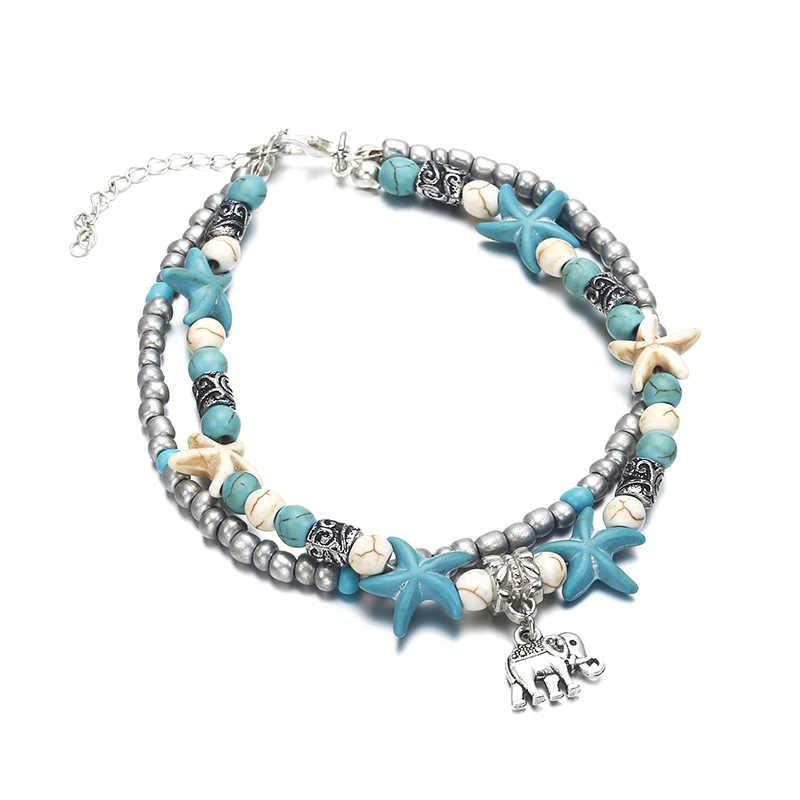 NS30 женские ножные браслеты серебристого цвета в богемном стиле, Украшенные бусинами, ракушками, морскими звездами, черепами, ювелирными украшениями, сандалии, обувь, босоножки, пляжные браслеты на лодыжке