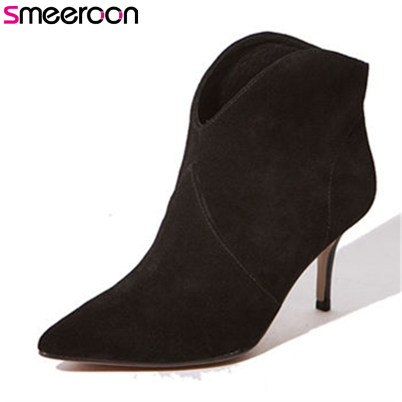 Smeeroon 2018 fashion style spring autumn boots women round toe high heels ankle boots top genuine leather high quality boots european style autumn genuine leather fashion ankle boots round toe zipper belt buckle high heels motorcycle boots women boots