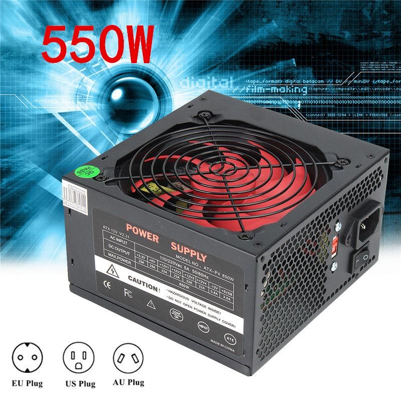 ATX-PC US/AU/EU Plug 80% Efficiency 550W PC BTC Power Supply 550 Watt 24 Pin PCI SATA ATX 12V Molex Miner Computer Power Supply aigo g5 active power supply rated power 500w max power 600w 12v atx pc desktop computer power supply fuente de alimentacion