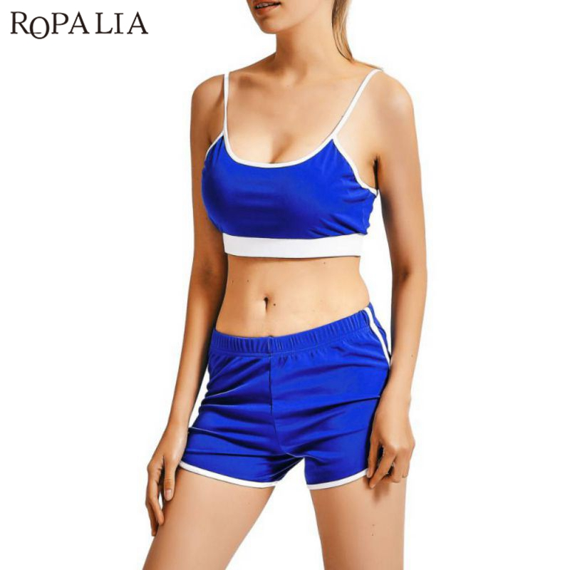 ROPALIA Women Summer Fitness Sets Fashion Solid Tracksuit Sets Backless Midriff Crop Tops + Shorts Suits Out Work Suits