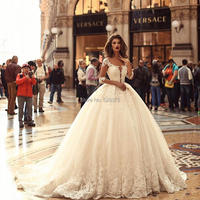 YNQNFS IWD2 Vestido de Noiva Puffy Ball Gown Bridal Dress 3/4 Sleeves Princess Party Dress Wedding 2019