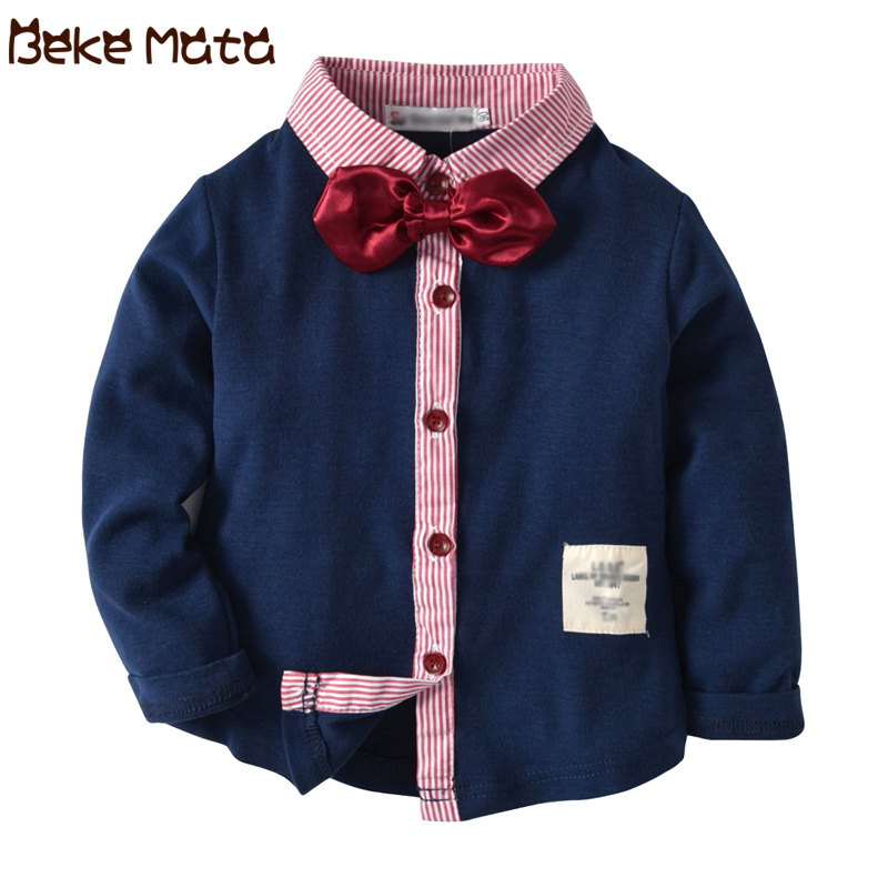 Boys Shirts Autumn Winter 2018 Fashion Turn-down Long Sleeve Toddler Shirts For Boys Cotton Kids Clothes Children Blouse 2-9 Y
