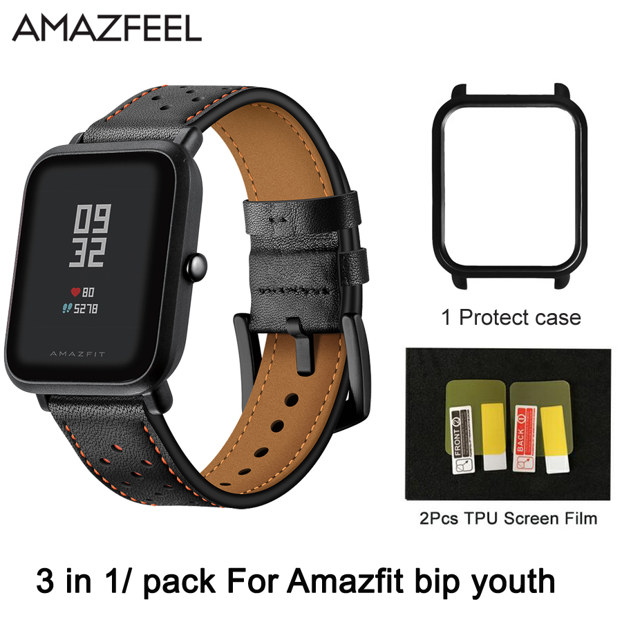 Genuine leather band 3 in 1 For Amazfit bip youth Watch Strap Smart Accessories for Xiaomi Sport Watch Amazfit Replacement Band