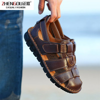 zhengou2019 Season Men's Sandals Male Tide Genuine Leather Beach Shoes Will Code Leisure Time Cool Slipper