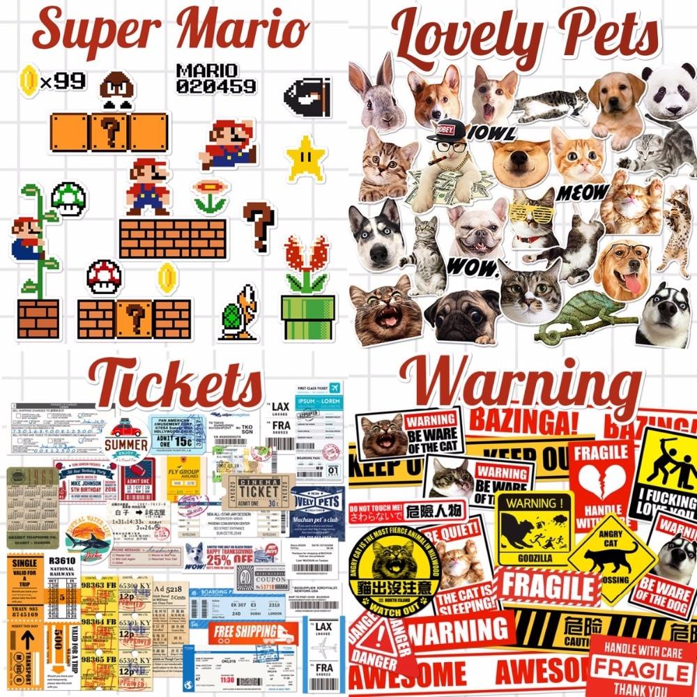 Gewidmet Thema Cartoon Super Mario Katzen Hunde Warnzeichen Tickets Laptop Notebook Haut Aufkleber Auto Styling Aufkleber Für Kinder Spielzeug Koffer