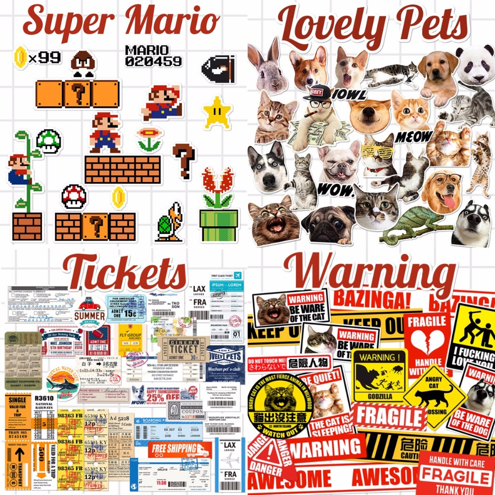 Theme Cartoon Super Mario Cats Dogs Warning Sign Tickets Laptop Notebook Skin Stickers Car Styling Decal For kids Toys Suitcase