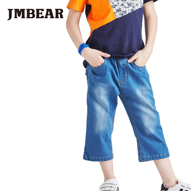 JMBEAR 2016 New Arrival boys jean cropped trousers for kids jeans shorts children casual with solid pattern type
