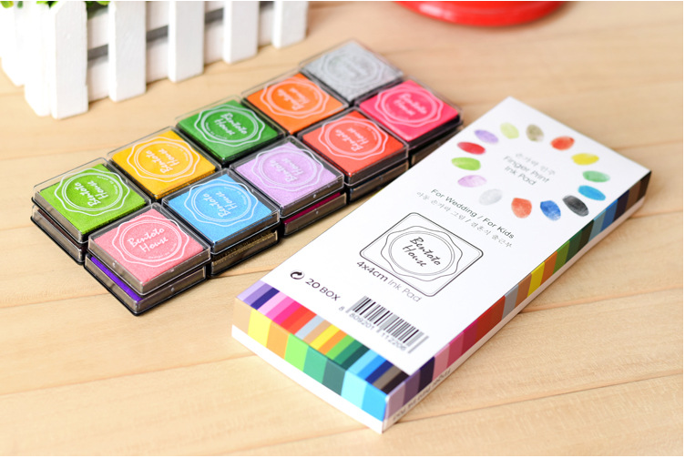 20pcs Candy Color Inkpad Rubber Kids Scrapbooking Stamps Home Made DIY Fashion Color Finger Painting Book Decoration