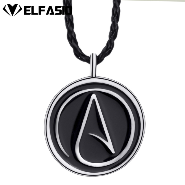 Mens Womens Atheist Atheism Symbol Silver Pewter Pendant Necklace