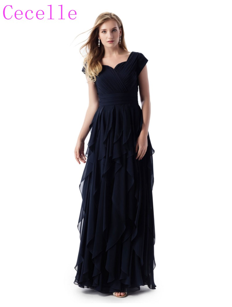 Dark Navy Blue Long Modest   Bridesmaid     Dresses   With Cap Sleeves Ruched Bodice Ruffles Skirt Chiffon Floor Length Religious   Dress