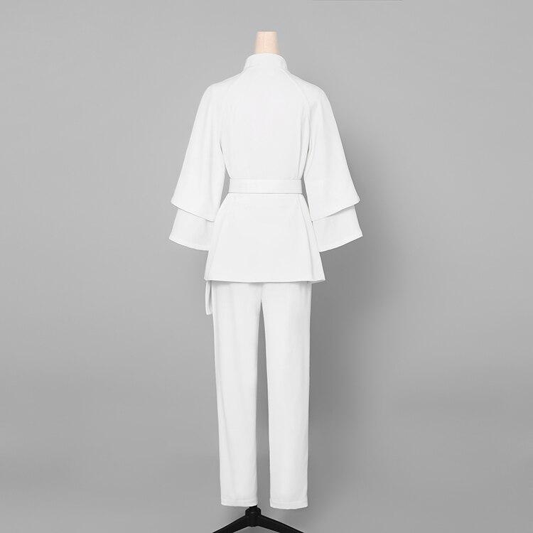 blanc Costume Montant Set Avec Femmes Wreeima Chemises Sarouel Col 2 Dames Vêtements 2019 Bureau Travail Sash De Formelle Pantalon Pièces Irrégulière Champagne 1qYqx06