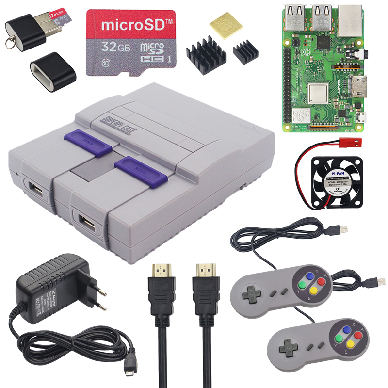 Retroflag Raspberry Pi 3 Model B+ Plus Kit + 32GB SD Card + Power Adapter + Fan + Heatsinks + HDMI Cable NESPI SUPERPI RetroPie