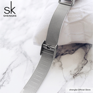 Image 4 - SK סופר Slim רסיס רשת נירוסטה שעונים נשים למעלה מותג יוקרה מקרית שעון גבירותיי שעון יד ליידי Relogio Feminino