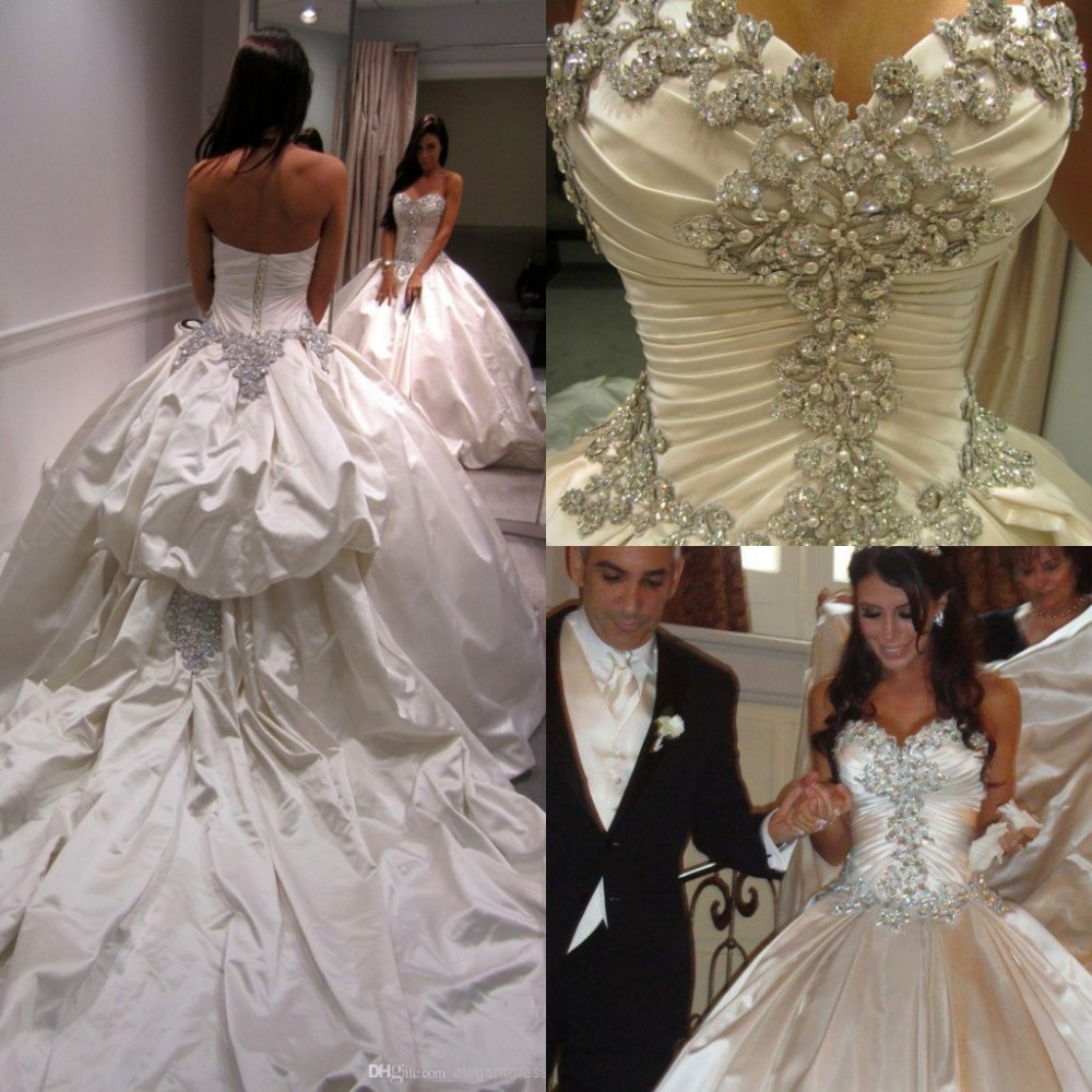 Vestido De Novia Vestidos de Casamento 2017 Vestidos de Noiva Casamento De Luxo Brilhante De Cristal de Alta Qualidade do Querido Cetim Robe De Mariage