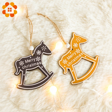 2pcs/set Orange Series Christmas Wooden Pendants Decorations Theme Wood Crafts Ornaments Beautiful Decor Supplies