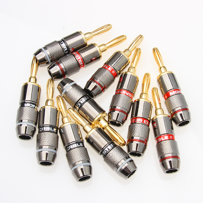 8/12PCS 24K Gold Plated Pure Copper Zinc Alloy Monster Banana Plug Connector Audio Power Speaker Plugs Connector