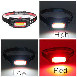 Image 5 - Миниатюрный портативный светодиодный налобный фонарь COB, уличный фонарь для кемпинга, рыбалки с красным светом