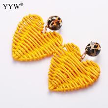 YYW 2019 Summer Rattan Knit Drop Earrings for Women Heart Pendant ZA Dangle Wholesale Handmade Bohemian earing