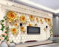 Beibehang Custom 3D foto behang Europese luxe gold rose zachte tas romeinse muurschildering 3d woonkamer slaapkamer achtergrond behang