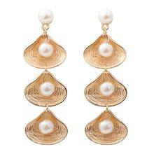Trendy Elegant Created Simulated Pearl Long Earrings Pearls Shell Statement Drop For Wedding Party Gift