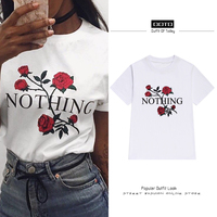 European Streetwear T Shirt Top 2017 Summer Tees Korean Ulzzang Harajuku Rose Floral Nothing Letter Print