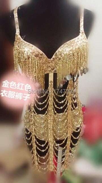 Золото красный костюм ди женское певица танец костюм одежда брюки бюстгальтер костюм-двойка для танцора производительности шоу сцена