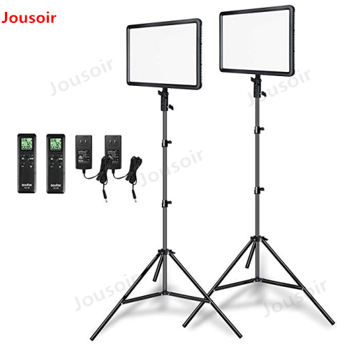 Godox 2pcs LEDP260C Ultra-thin 30W 3300-5600k LED Video Light Panel Lamp with 2pcs Light Stand for Video Studio Lights CD50 Y