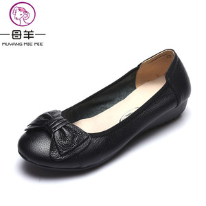 Image 3 - Plus Size(34 43) Women Shoes Genuine Leather Flat Shoes Woman Maternity Casual Work Shoes 2019 Fashion Loafers Women Flats