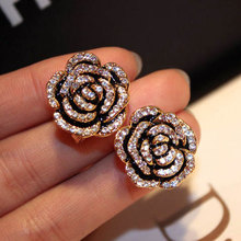 Luxury Brand Designers Jewelry Camellia Flower Earring Fashion Gold Color Stud For Women