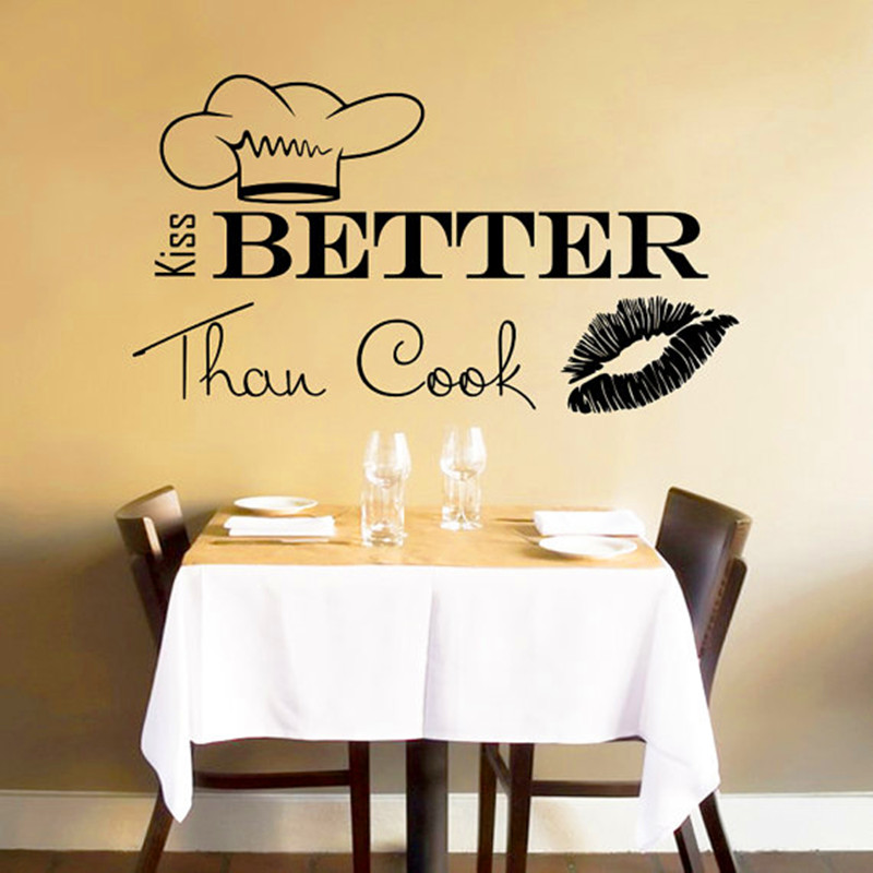 Wall Decals Quote I Kiss Better Than Cook Kitchen Wall Design ...