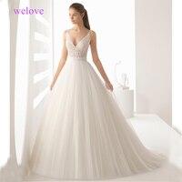 Robe de mariee Backless Sheer Elegant Wedding Dress Sleeveless Embroidery Appliques Pleat Wedding Dresses 2019 Vestige De Noiva