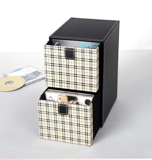 home 2-layer 2-drawer leather desk CD/DVD sundries container storage box  sc 1 st  AliExpress.com & home 2 layer 2 drawer leather desk CD/DVD sundries container storage ...