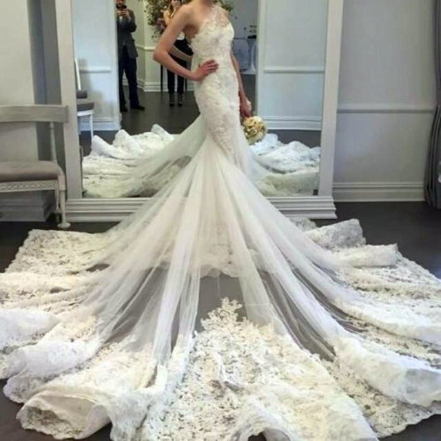 Великолепная русалка свадебные платья 2016 отвесные одно плечо кружева цветок аппликации лиф свадебное платье свадебные платья noiva