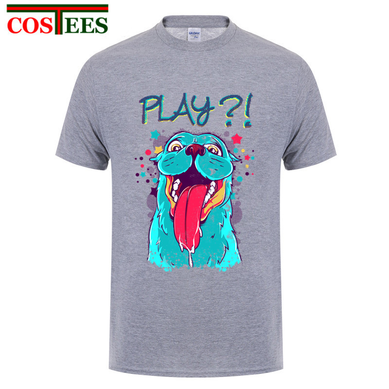 Fashion-tumblr Summer New Women short Shirts mens Dress Harajuku Playful Cartoon Dog Printed Black T Shirt boys fitness t-shirt