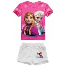 2-8 лет 2017 Новое Лето детские Наборы Эльза Анна Одежда Девушки Одежда Набор детская Одежда Дети одежда для новорожденных девочек