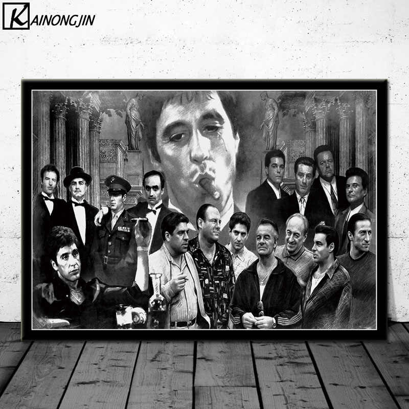 Poster Gangsters Godfather Goodfellas Scarface Sopranos Movie Posters and Prints Canvas Painting Wall Art Picture Home Decor