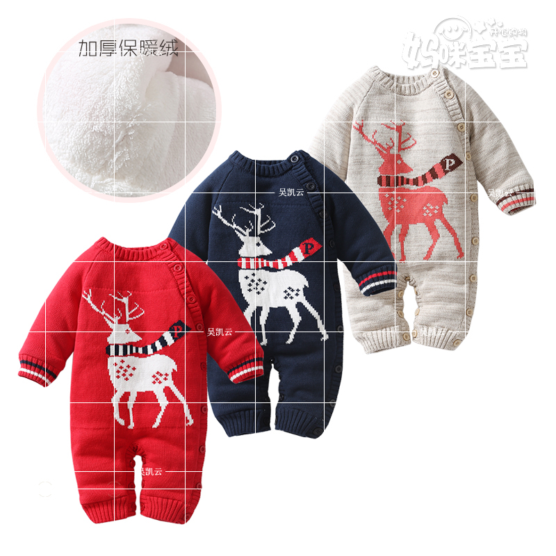 0-18M Baby rompers 2016 Russia spring autumn Newborn with thick fleece Romper Knitted Sweater Christmas Deer Hooded Outwear