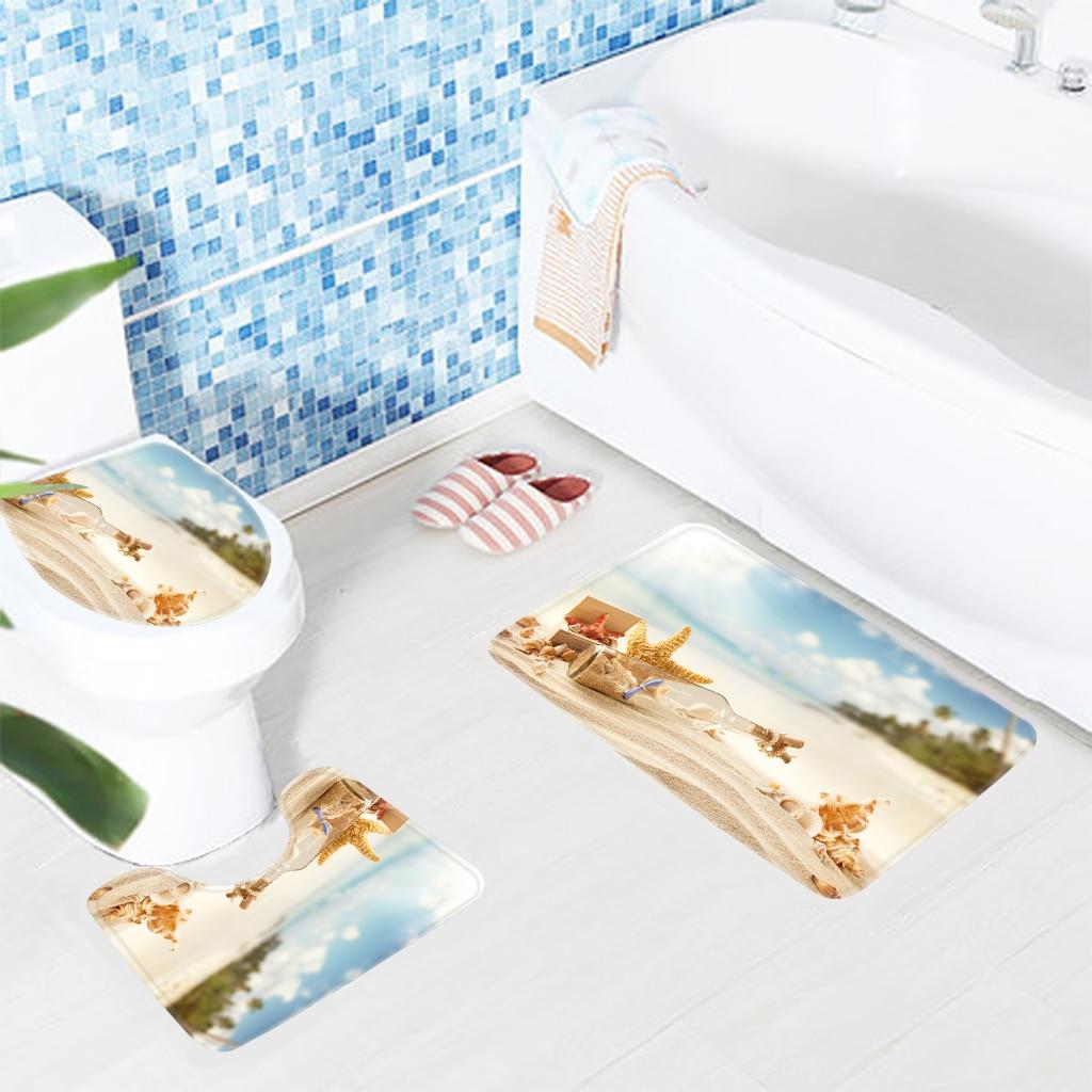 Bathroom Rug Set 3pcs Beach Sea Shell Starfish Bottle Pattern Mat for Toilet Anti Slip Microfiber Bath Mat