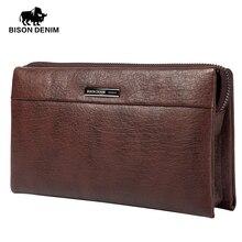 BISON DENIM 2016 top-griff taschen Veranstalter Brieftaschen leder echte brieftasche für männer Geschäfts kupplung abendtasche kleid N8009-1B
