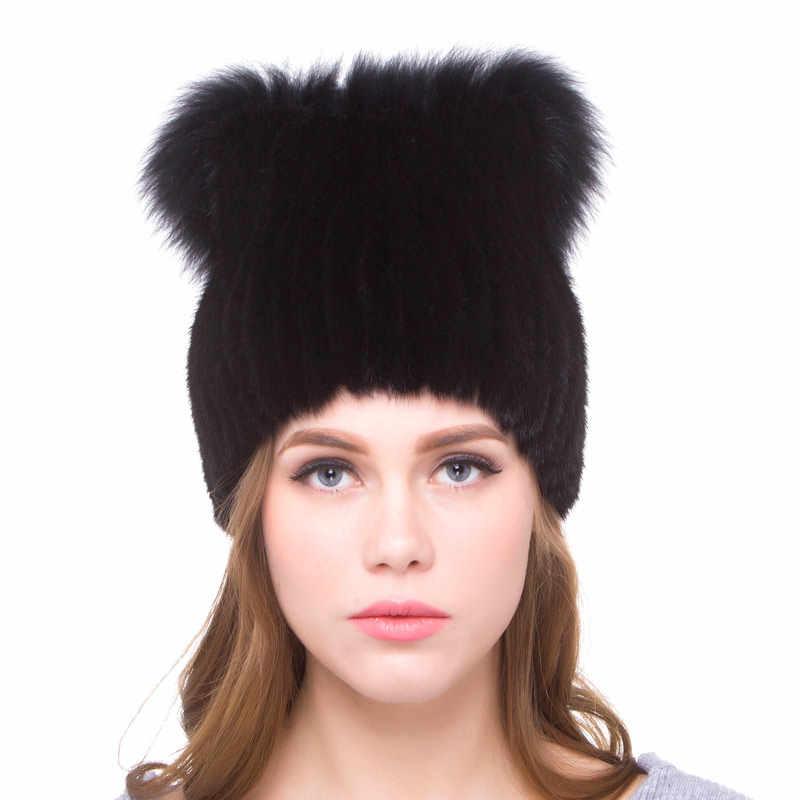 JKP chapéu verdadeira pele de vison e raposa abafadores de peles de couro genuíno acessórios bola de cabelo de pele de raposa chapéu morno ocasional festa ao ar livre 2018 nova