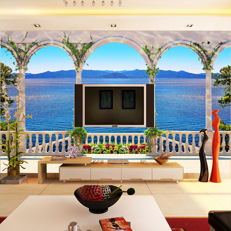 Custom Wall Mural Wallpaper 3D Window Sea View Large Wall Painting Living Room Sofa TV Background Straw Pattern Wallpaper Modern modern ink painting style abstract line large mural wallpaper living room bedroom wallpaper painting tv backdrop 3d wallpaper