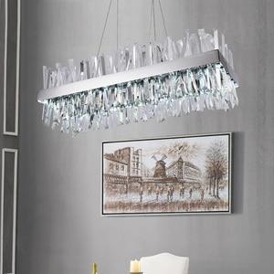 Image 5 - יוקרה עיצוב מודרנית גביש נברשת LED אור AC110V 220V cristal זוהר כרום חדר אוכל סלון מנורה