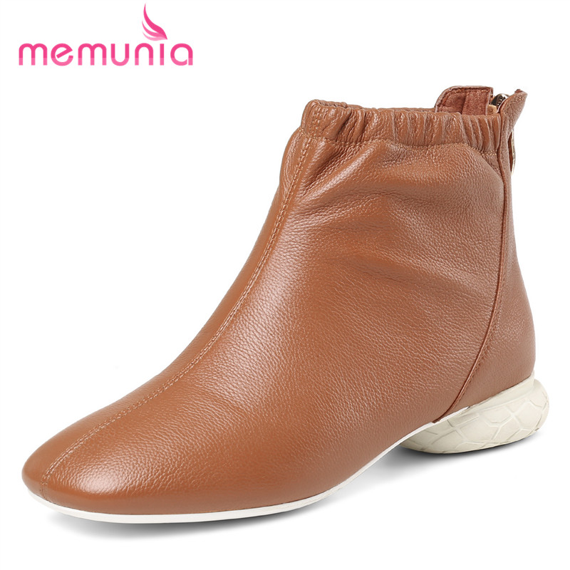 MEMUNIA fashion genuine leather boots woman simple autumn winter boots for women hot sale square toe ankle boots women shoesMEMUNIA fashion genuine leather boots woman simple autumn winter boots for women hot sale square toe ankle boots women shoes