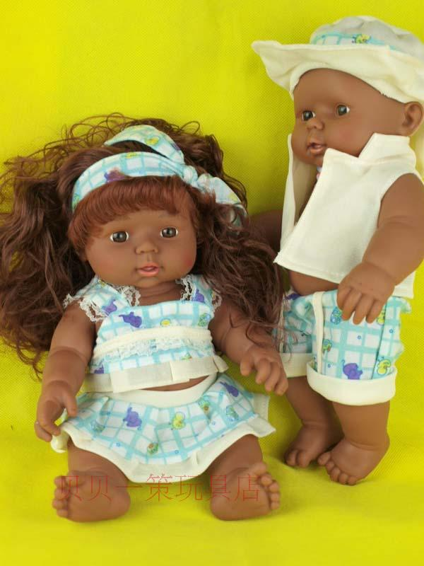 Special clearance 28 cm Africa reborn baby doll plastic simulation chocolate boy and girl dolls
