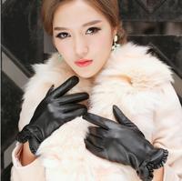 Wholesale autumn and winter gloves elegant bow black sheepskin ladies leather gloves warm thickening velvet