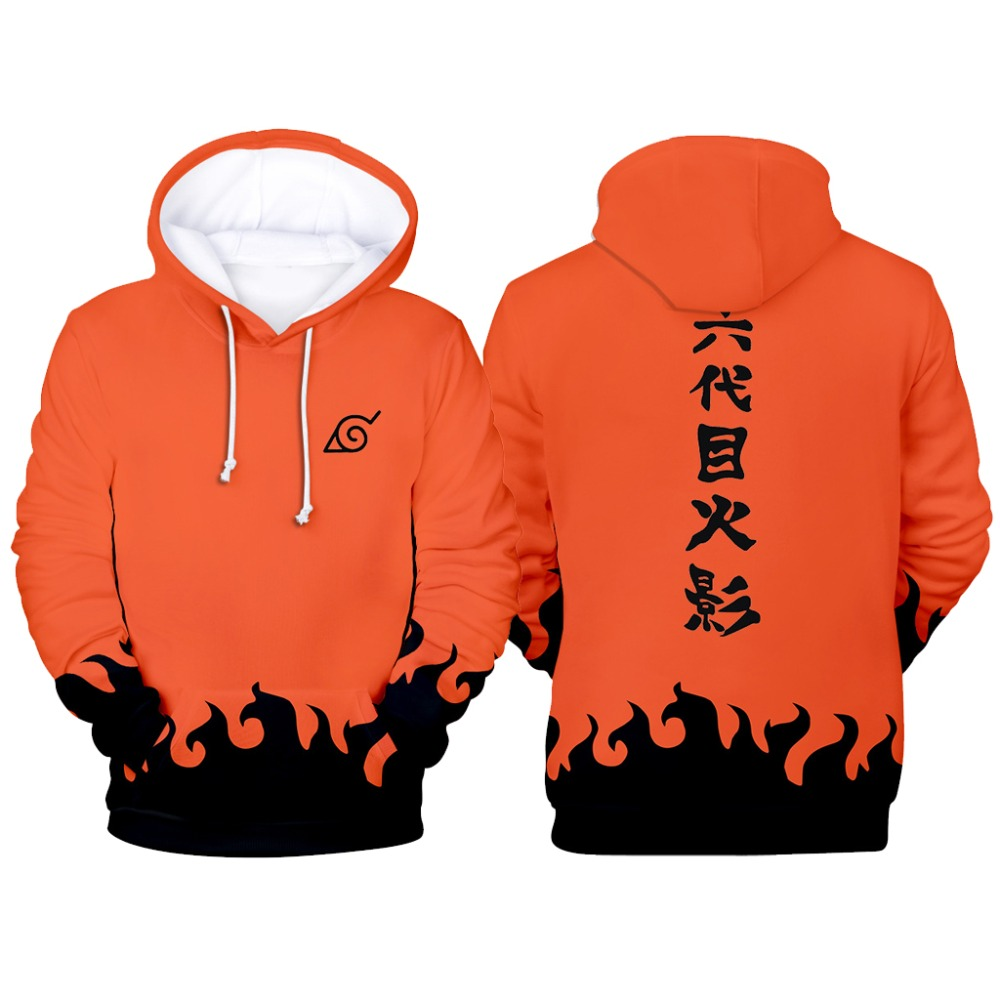 Fashion Sweatshirts Men Cartoon Naruto Hoodies Jacket Women Orange Black 3D Hoodie Naruto Cosplay Costume Coat