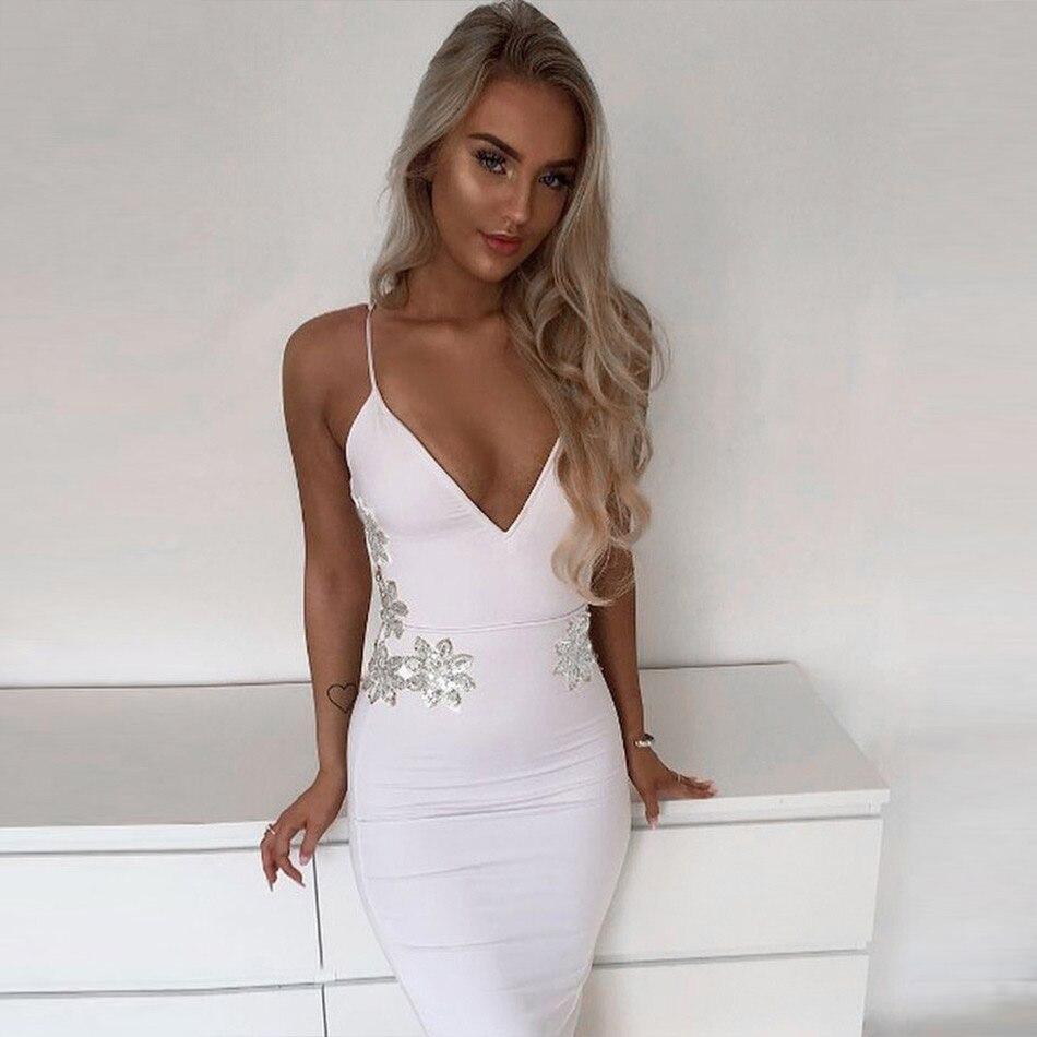 e67f2e05538 Купить на aliexpress Seamyla Новое Бандажное платье женское летнее белое  вечернее платье знаменитостей vestidos сексуальное платье