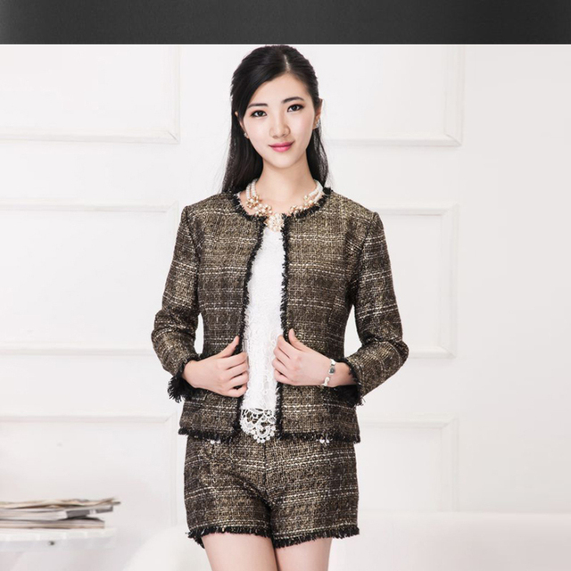 Bronzing tweed jacket  shorts suits spring /autumn new ladies ...